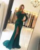 Lace Long Sleeve Mermaid Evening Dresses with Slit 2018