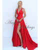 Gorgeous V Neck Red Evening Dresses with Split Side 2018