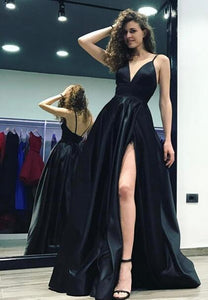 Sexy Black Evening Dresses with Slit 2018 Formal Dress