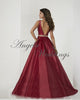 Deep V-Neck Burgundy Satin Long Prom Dresses 2020