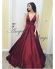 Sexy Burgundy Evening Gowns 2018 Formal Dress Floor Length