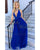 Royal Blue Prom Dresses Long 2020 Halter Beaded Party Gowns
