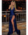 Dark Royal Blue Prom Dresses Split 2019 Sexy Long Party Gowns