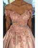 Delicate Satin Ball Gown Prom Dresses with Flowers 2020