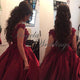 Burgundy Ball Gown Evening Dresses with Flowers Beaded