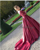 Elegant Lace Long Sleeve Burgundy Prom Dresses Ball Gown 2020