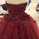 New 2020 Burgundy Strapless Lace Prom Dresses with Flowers Pageant Gown