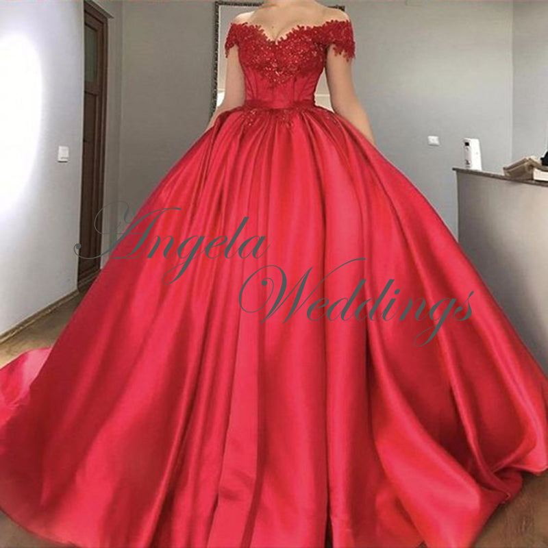 2018 Delicate Red Ball Gown Prom Dresses With Cap Sleeve