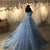 Lace Tulle Prom Dresses with Flowers Sky Blue Pageant Gown