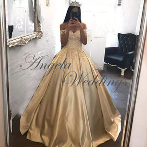 Delicate Champagne Satin Prom Dresses Ball Gown 2020