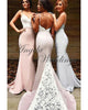 Sexy Mermaid Bridesmaid Dresses with Spaghetti Straps Sheer Lace Train