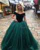 Dark Green Velvet Tulle Ball Gown Prom Dresses Ball Gown 2018