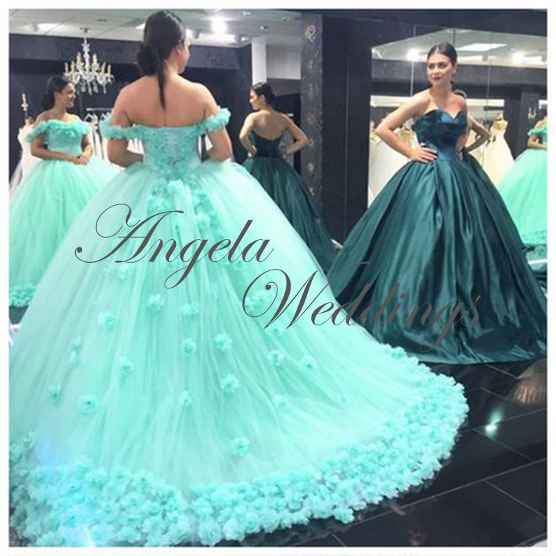 8535a2ce14 Beautiful Mint Tulle Ball Gown Quinceanera Dresses with Flowers Real ...