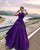 Elegant Long Purple Elastic Satin Prom Dresses 2018 Floor Length