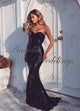 Shinny Navy Blue Mermaid Prom Dresses Sequined Strapless