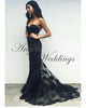 Delicate Black Lace Mermaid Prom Dresses 2018 Newest