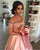 Pink Satin Prom Dresses Lace Appliqued A line Prom Gowns 2018
