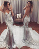 Silver Bling Bling Mermaid Prom Dresses Backless Beach Dress