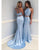 Light Blue Mermaid Prom Dresses with Halter Beaded Two Piece Prom Party Gowns 2018
