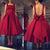 Vintage Dark Red Prom Dresses with Big Bow 1950s Fashion Party Gowns Tea Length