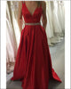 Backless Red Elastic Satin Long Prom Dresses Beaded Sexy V-Neck Pageant Gowns