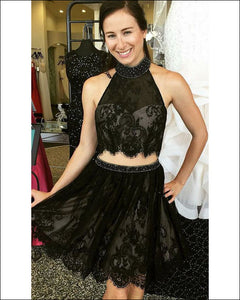 Sexy Short Black Two Piece Prom Dresses Halter Beaded Lace Graduation Party Gowns