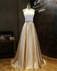 Simple Two Pieces Prom Dresses White Gold Satin Ruffles Long Party Gowns 2018