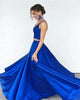 Two Pieces Prom Dresses Royal Blue Elastic Satin Ruffles Long Party Gowns 2018 Fashion