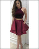 Fashion Burgundy Velvet Homecoming Dresses Two Pieces Short Prom Gowns Ruffles