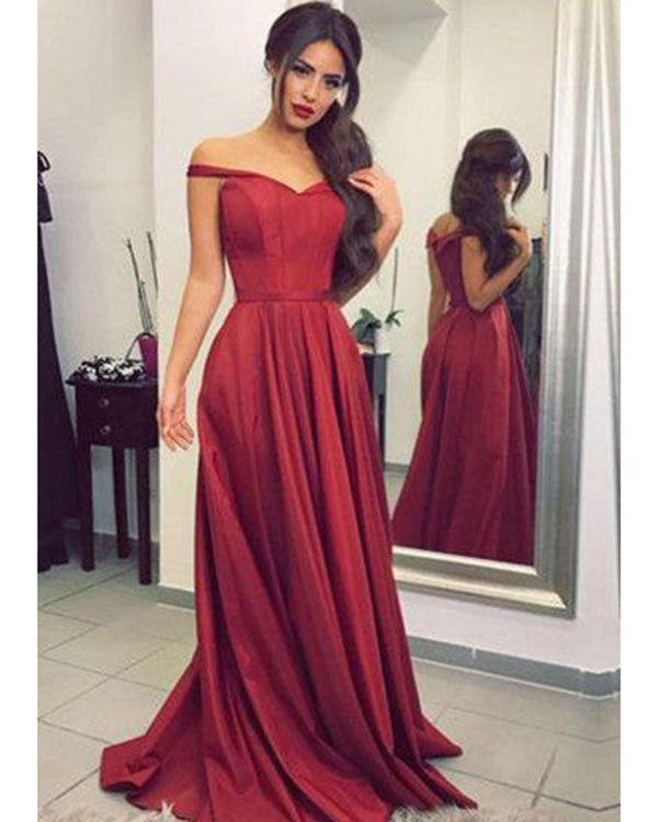 6f754e64b3 Dark Red Prom Dresses Off The Shoulder Satin Long Pageant Gowns 2018 Stylish