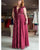 Plus Size Mother of The Bride Dresses with Deep V Neck Burgundy Formal Party Gowns