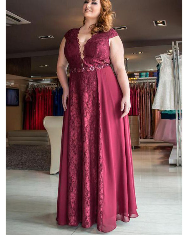 54064dae327 Plus Size Mother of The Bride Dresses with Deep V Neck Burgundy Formal  Party Gowns