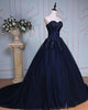 Gorgeous Navy Blue Ball Gown Evening Dresses with Lace Appliques Real Formal Dress 2018