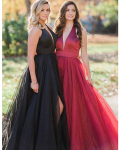 Sexy Plunge V-Neck Prom Dresses Satin Organza Ruffles Long Party Gowns 2020