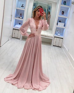 Blush Pink Chiffon Elegant Evening Dresses with Long Sleeve Lace Formal Dress 2018