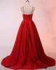 2018 Red Prom Dresses with Spaghetti Straps Sexy Long Prom Party Gowns New Arrival