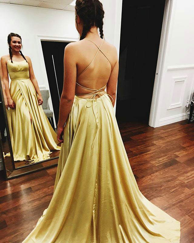 31483289660 Real Photos Green Prom Dresses with Criss-Cross Straps Sexy Slit ...
