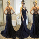 Sexy Criss-Cross Straps Mermaid Prom Dresses Lace Beadings Long Formal Party Gowns