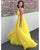 Yellow Chiffon Prom Dresses 2018 Halter New Arrival Long Prom Party Gowns with Ruffles