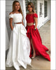 Off The Shoulder Burgundy Prom Dresses 2018 Lace Satin Hi-Lo Prom Gowns Ruffles