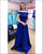 2020 Elegant Royal Blue Satin Prom Dresses Off The Shoulder Long Prom Gowns with Belt Beaded