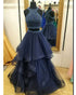 Navy Blue Two Piece Prom Dresses Beadings Rhinestones Long Tulle Ruffles Prom Gowns