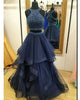 prom-dresses-2018 new-prom-dress fashion-2018-prom-dresses 2018-prom-dresses-navy-blue prom-dresses-ruffles prom-dresses-halter prom-dresses-beadings two-piece-prom-dresses tulle-prom-dresses-long