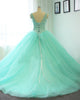 Delicate Princess Quinceanera Dresses Mint Tulle Ruffles Lace Ball Gowns Sweet 16 Dress