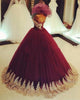 Burgundy Quinceanera Dresses with Gold Appliques Strapless Tulle Ball Gown Sweet 16 Dress Sexy