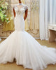 2018 Sexy Mermaid Wedding Dresses with Pearls High-Neck Cap Sleeves Bridal Gowns Real