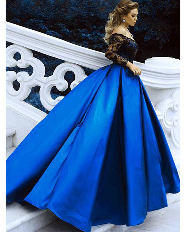 050c49f8019 Long Sleeves Wedding Dresses Royal Blue Satin Black Lace Ball Gowns Bridal  Dresses 2018