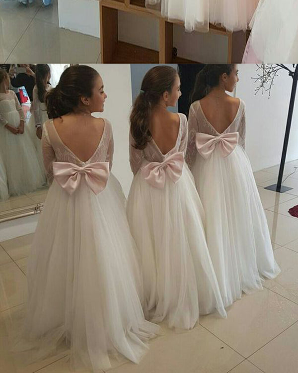 f39665ecdc8 Lovely Puffy Tulle Backless Flower Girl Dresses with Long Lace Sleeves 2018