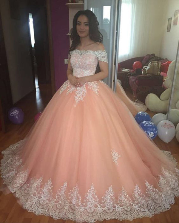 b36f0fc6704 Fashion Quinceanera Dresses Off The Shoulder Coral Tulle White Lace ...