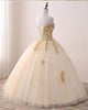 Popular Ivory Tulle Quinceanera Dresses with Gold Lace Strapless Ball Gown Sweet 16 Dresses